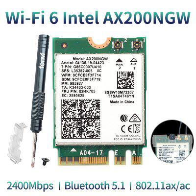 Wireless Dual Band 2400Mbps WiFi 6 For Intel AX200 NGFF M.2 Bluetooth 5.1 Wifi Card AX200NGW Adapter 2.4G/5Ghz 802.11ac/ax