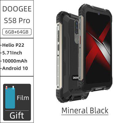 New DOOGEE S58 Pro Mobile Phone IP68 IP69K Waterproof Rugged 5180mAh 5.71 inch FHD+Display 6GB+64GB Android 10 NFC Smartphone