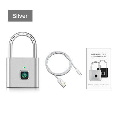 Security Door Lock Smart Keyless USB Rechargeable Fingerprint Padlock For Locker Sports School Zinc alloy Meta No Key App