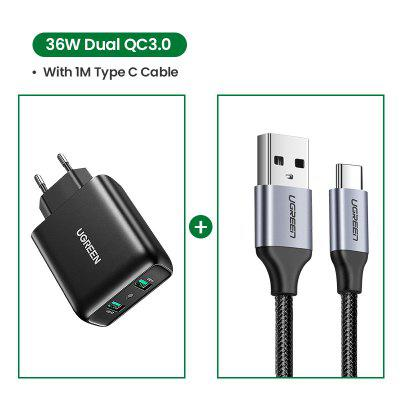 Ugreen USB Charger Quick Charge 3.0 36W Fast Adapter QC3.0 Mobile Phone Chargers for iPhone Samsung Xiaomi Redmi
