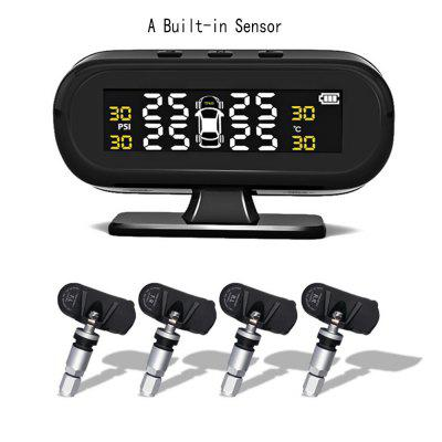 Car Tire Pressure Sensor Temperature Warning Fuel Save Tyre Monitor System With 4 External TPMS Solar