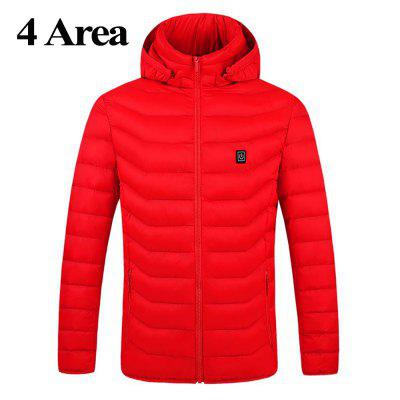 Electric Heated Jackets Outdoor Vest Coat USB Long Sleeves Electric Heating Hooded Jackets Warm Winter Thermal Clothing