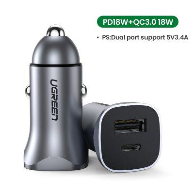 Ugreen 36W Quick Charge 4.0 3.0 QC USB Car Charger for QC4.0 QC3.0 Type C PD Car Charging for iPhone 11 X Xs 8 PD Charger