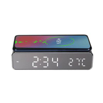LED Alarm Clock Watch Table Digital Desktop USB Clocks Decor with Thermometer Phone Wireless Charger For Samsung Xiaomi