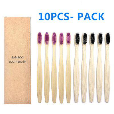 10PCS Colorful Natural Bamboo Toothbrush Set Soft Bristle Charcoal Teeth Whitening Toothbrushes Dental Oral Care