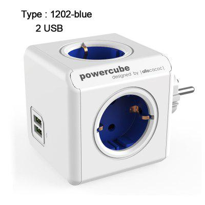 Allocacoc Power Strip USB EU Plug Adapter Smart Socket Powercube Electric 4 Outlets Extension Multi 3680W Home Travel Charging
