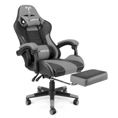Furgle Office Chair with Footrest Gaming Massager Lumbar Support Computer Rolling Swivel Leather Desk