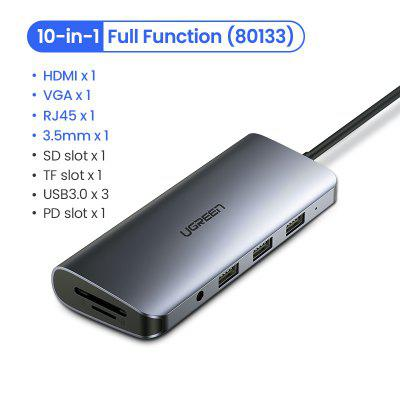 UGREEN USB HUB C HUB HDMI Adapter 10 in 1 USB C to USB 3.0 Dock for MacBook Pro Accessories USB-C Type C 3.1 Splitter USB C HUB for macbook pro samsung s8 dex usb c to hdmi adapter type c usb 3 1 hub usb c to usb 3 0 hdmi type c female converter cable
