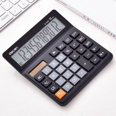 Deli Solar calculator Photoelectric Dual power Drive 12 Number large Display for school Student Finance Office Accounting