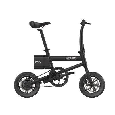 CMSBIKE Smart Folding Electric Bike 250W 36V 12 Inch Stable Tires 25km/h Max Speed Foldable Bicycle With LED Power