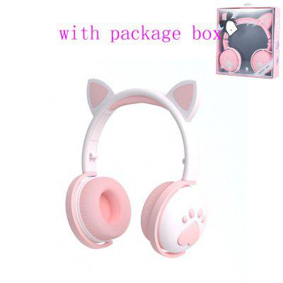 Фото - AIKSWE Bluetooth Headphones glowing cute LED Cat Ear Paw Girls Gift Kids Headset Wireless HIFI Stereo Bass 3.5mm Plug With Mic 8led light wall mounted round 3x magnifying mirror led bronze brushed nickel makeup mirror make up private mirror with gift