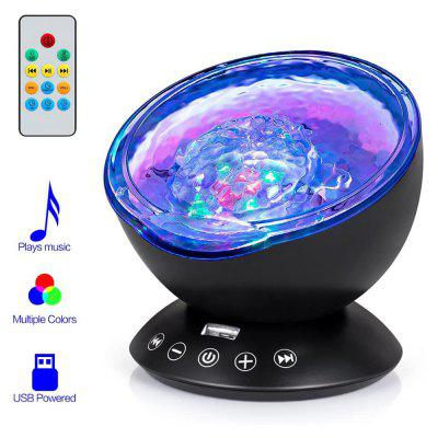 USB LED Star Night Light Music Starry Water Wave Projector Bluetooth Sound-Activated Decor