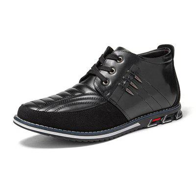 Men Autumn Casual High Top Comfy Shoes Leather Breathable Dress Shoe Man Business Outdoor Solid Color Male Footwears