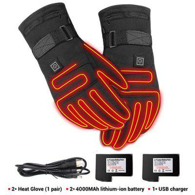 New Electric Heated Gloves With Temperature Adjustment Lithium Batteries For Skiing Hiking Climbing Driving Cold Weather