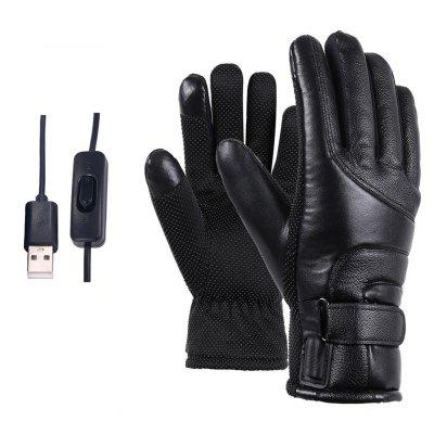 Motorcycle Electric Heated Gloves Polyester & Cotton Windproof Cycling Skiing Warm Heating USB Powered For Men Women
