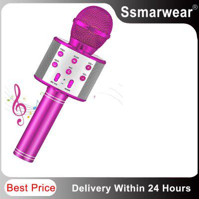 sydmic professional 4 channel wireless microphone system cordless karaoke system four lavalier mic s for stage show home party WS858 Bluetooth Karaoke Wireless Microphone For Kids Toys Wireless Portable Karaoke Machine Handheld Mic Speaker Home Party SING