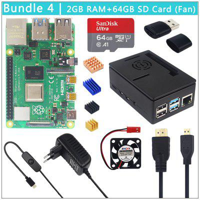 Raspberry Pi 4 Model B + Case Power Supply 64GB SD Card+ Heatsink Optional 3.5 inch Touch Screen or Fan&Video Cable for PI