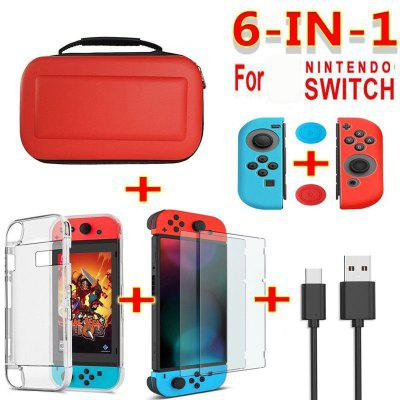 6 In 1 Game Accessory Set Black Red Blue For Nintend Switch Travel Carrying Bag Screen Protector Case Charging Cable