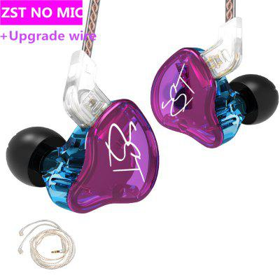 Фото - KZ ZST 1BA 1DD In Ear Earphone Hybrid Headset HIFI Music Sports Earbuds Noise Cancelling Earbuds Replaced Cable ZSN PRO ES4 ZS10 vsonic gr07 37th anniversary limited edition in ear earphone professional noise isolation hifi earphones