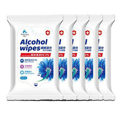 Portable  Alcohol  Wet Wipes Personal Disinfection Cleaning Cloths 10PCS per Pack - 5 Pack