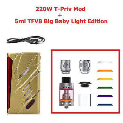 SMOK 220W T-PRIV 5ml TFV8 Big Baby Light Edition Vape Mod Electronic Cigarette Vaporizer KIT