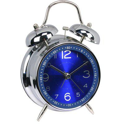 4 inches Metal Clock Twin Bell Alarm Clock with Stereoscopic Dial Backlight for Bedroom Retro