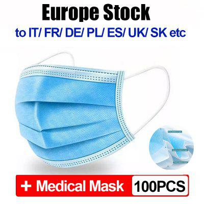 100pcs CE Disposable Medical Mask Anti-dust Safe Breathable Face Dental 3 Ply Earloop Mouth Masks