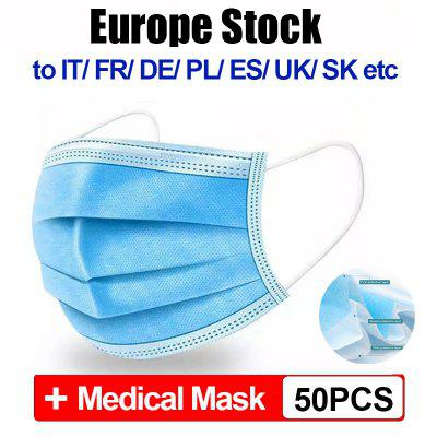 50pcs CE Disposable Medical Mask 3-ply Anti-virus Dust-proof Elastic Earloop Mouth Surgical Mask