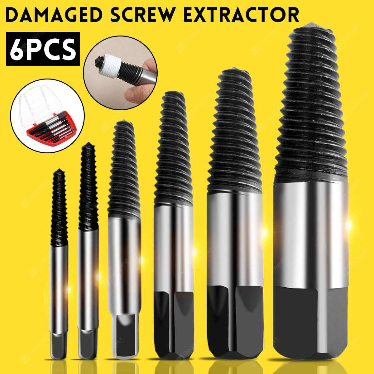 6pcs Set Damaged Screw Extractor Speed Out Drill Bits Tool Broken Bolt Remover
