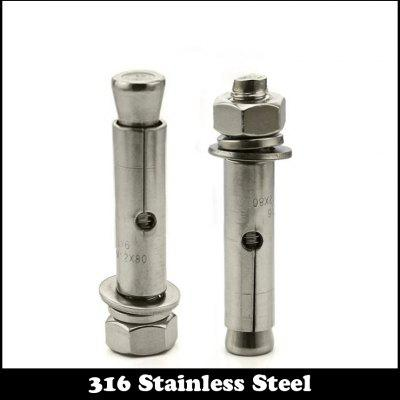 1PC M10x100 304 Stainless Steel External Hex Hexagon Expansion Screw Sleeve Concrete Anchor Bolt