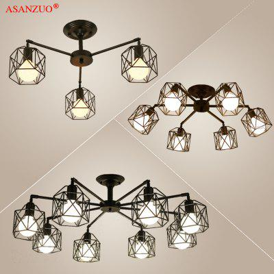 Black Kitchen Lights Chandelier Lighting American Iron Cage Ceiling Lamp