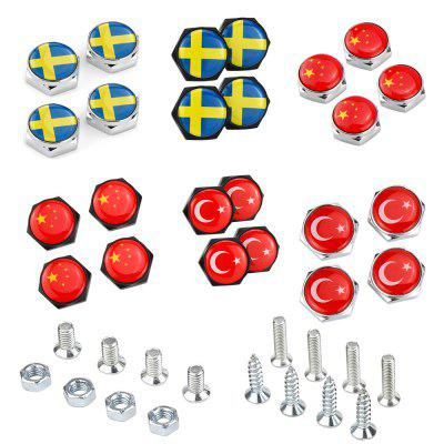 Car Decorative Bolts License Plate Bolt Screw Cover Flag Styling