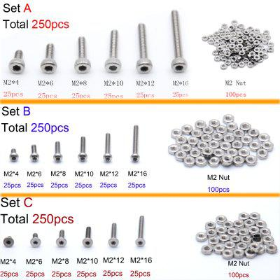 250pc Stainless Steel M2 Screws and Bolts Sets Hex Socket Bolt With Hex Nuts Assortment Kit