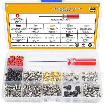 300Pcs Personal Computer Motherboard Standoffs Screw Set Assortment Kit with a Screwdriver