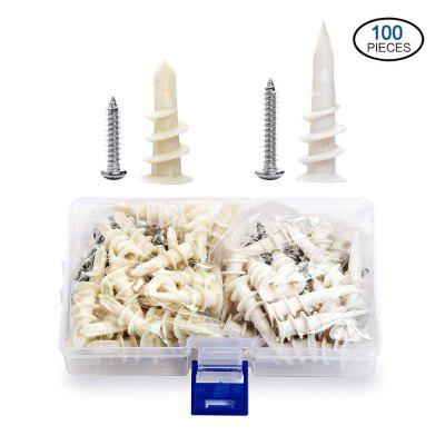 100pcs Plastic Expansion Tube Self-drilling Drywall Anchor Screw Plasterboard Nylon Anchors