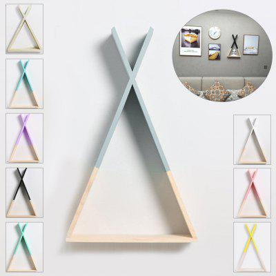 Triangle Wall Frame House Shelf Display Decorate Children Room Crafts Storage Rack