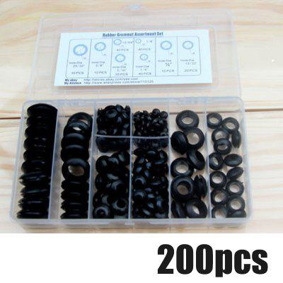200Pcs Rubber Grommet 8 Sizes Grommet Gasket For Wire Cable Black Assortment Set