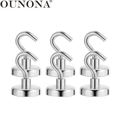 6 Pcs Magnetic Hooks Powerful Heavy Duty Neodymium Magnet Hanger Strong Magnetic