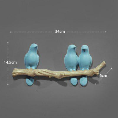 Wall Decorations Home Accessories Living Room Hanger Decorative Wall Hooks  Blue 3 Birds