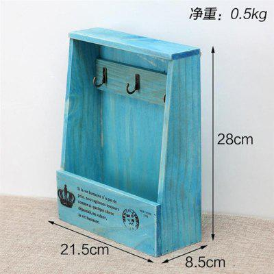Retro Wall Mounted Storage Box Wooden Box Organizer Key Hanging Hooks Mail Box