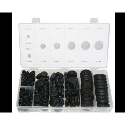 170pcs Black Rubber Grommet Firewall Hole Plug Retaining Ring Set For Cylinder Valve Water Pipe