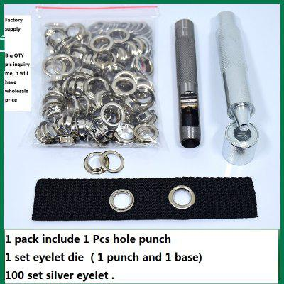 100 set Silver Hole Eyelet Punch Die Tool Set for Leather Craft Clothing Grommet Banner