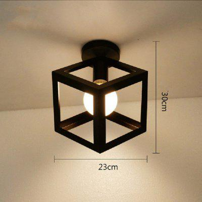 Black Kitchen Lights Iron Cage Led Ceiling Lamp Nordic Metal Light Vintage Loft