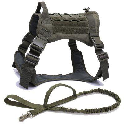 Military Tactical No Pull Dog Harness Pet Vest with Handle Nylon Bungee Dog Leash Harness