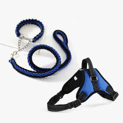 Large Pet Dog Collar Harness Leash Set Traction Rope Walk The Dog P Chain Pet Lead Harness Vest
