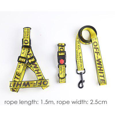 Lettered Pet Dog Collar Harness Leash Set  Durable Nylon Rope Leads Walking Dogs Pet Supplies
