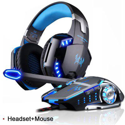 Gaming Headset Stereo Game Headphone with Microphone LED Light for PS4 PC Laptop with Gaming Mouse