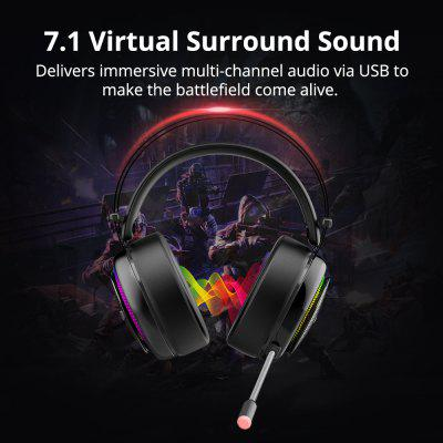 Gaming Headset Virtual 7.1 USB Interface Headphones for PS4 Nintendo Switch Computer Laptop