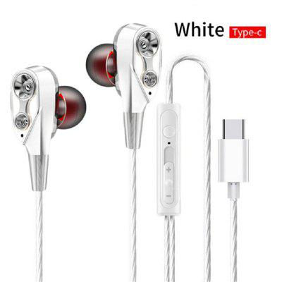 Wired Earphone High Bass Dual Drive Stereo In-Ear Headphones Type C with Microphone Computer Earbuds