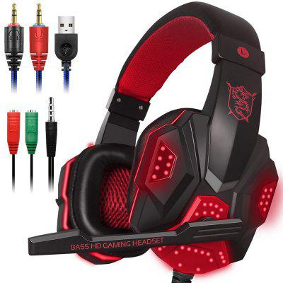LED Lights Gaming Headset for PS4 PC Xbox One Noise Cancelling Wired Gamer Headphones With Mic